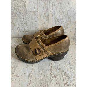 SoftSpots Lina Barley Mocha Tan Leather Clogs 8.5W